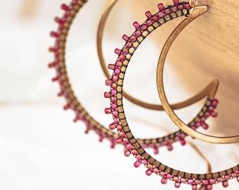 Beaded Moon Earrings, Seed Bead Earrings, Crescent Moon Earrings, Statement Earrings, Big Earrings, Beaded Earrings, Gift for Her,
