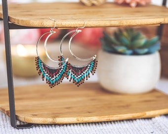 Moon Phase Earrings, Crescent Moon Earrings, Seed Bead Earrings, Witchy Earrings, Seed Bead Fringe Earrings, 50th Birthday Gift for Women,