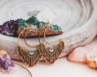 Seed Bead Fringe Earrings, Moon Phase Earrings, Mom Christmas Gift from Daughter, Mom Gift