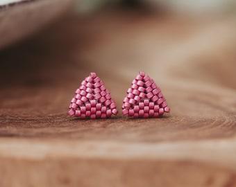 Triangle Stud Earrings, Seed Bead Earrings, Beaded Earrings, 13th Birthday Girl