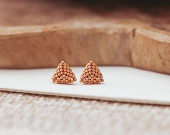 Triangle Stud Earrings, Seed Bead Earrings, Beaded Earrings, Gifts for Teens, 16th Birthday Gift,