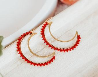 Seed Bead Earrings, Crescent Moon Earrings, Boho Beaded Earrings, 40th Birthday Gifts for Women, Best Friend Gift