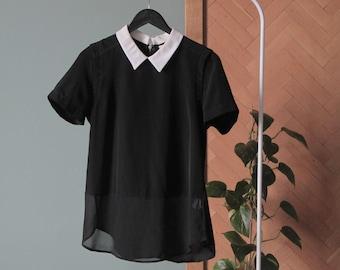 255e4784 Preloved ZARA black sheer blouse top with white collar detail