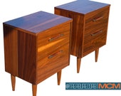 Mid Century Pair of Nightstands Stylemaker Walnut Wood Retro Boho Design Shipping NOT included
