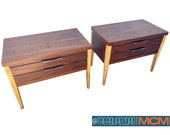 Mid Century Pair of Nightstands Lane Tuxedo Walnut, Rosewood, Ash Wood Retro Design Shipping NOT included