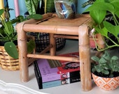 Vintage Small Bamboo Plant Stand Rattan Boho Chic Decor Plant Parent Plant Mom Dad Plant Lover Gift Dorm Decor Little Table Bohemian