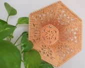 Vintage Wicker Wall Hanging Basket Planter Holder Unique Hexagon Boho Decor Plant Mom, Dad Gift Christmas Present Rattan Pocket Retro