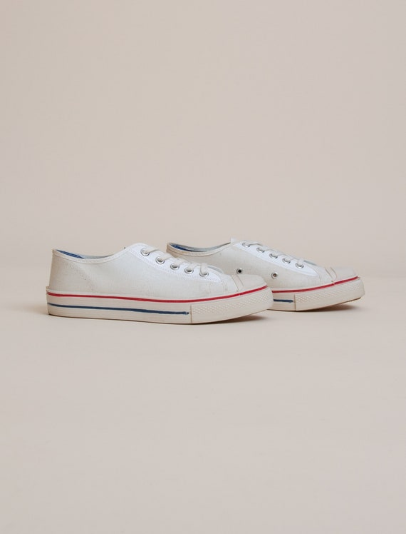 1960's Size 3.5 Deadstock Low Top Canvas Tennis S… - image 2