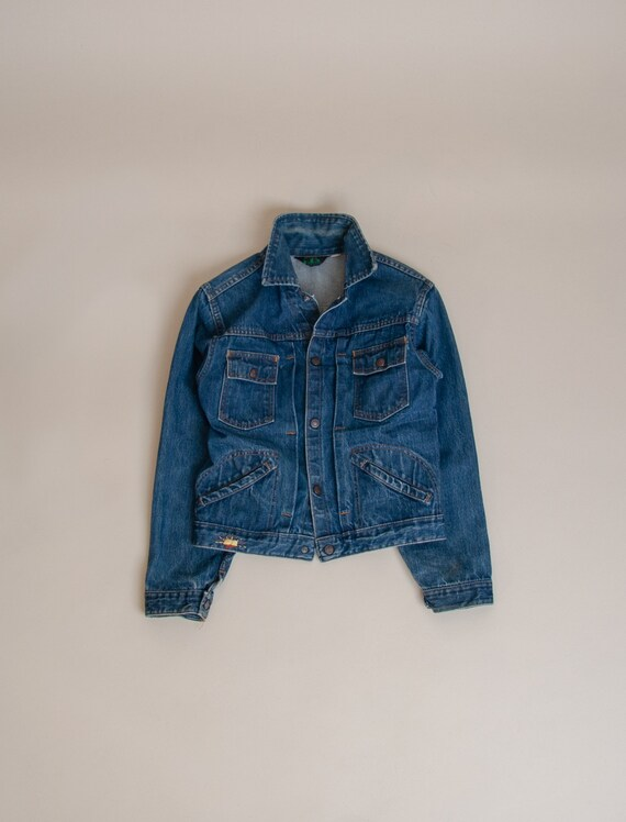 1960's X-Small Hand Embroidered Pleated Denim Jack