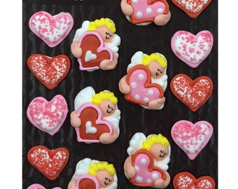 Valentine Cupids and Hearts- 18 pcs Edible Icing Cake Cupcake Decoration Topper Kit by BakersDozenToGo