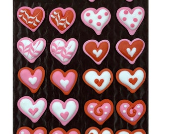 Valentine Variety Decorated Hearts- 24 pcs Edible Icing Cake Cupcake Decoration Topper Kit by BakersDozenToGo