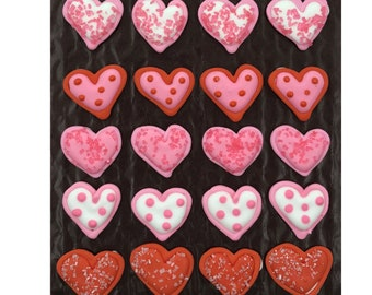 Valentine Sugar Sprinkled Hearts- 24 pcs Edible Icing Cake Cupcake Decoration Topper Kit by BakersDozenToGo