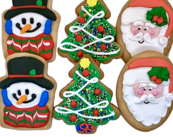 Christmas Cookie Assortment- Set of 6 Crunchy Shortbread Cookies Individually Wrapped by BakersDozenToGo
