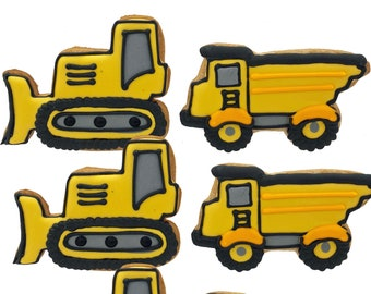 Bulldozer and Dump Truck Cookies- 6 Decorated Shortbread Cookies Individually Wrapped With Bow by BakersDozenToGo