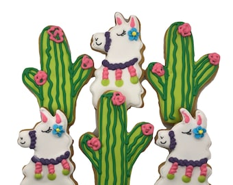 Llama and Cactus Cookies- 6 Decorated Shortbread Cookies Individually Wrapped With Bow by BakersDozenToGo