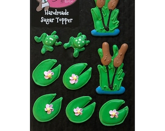Pond Assortment Lily Pad Cattail Frog- 9 pcs Edible Royal Icing Cake Topper Cupcake Decoration Handmade Gourmet by BakersDozenToGo