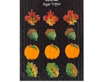 Fall Cupcake Assortment- 12 pcs Edible Icing Cake Topper Cupcake Decoration Handmade Gourmet by BakersDozenToGo