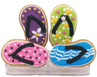 Flip Flop Cookie Assortment- 6 Decorated Shortbread Cookies Individually Wrapped With Bow by BakersDozenToGo