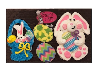 Large Easter Candy Bunny Basket and Eggs-  4 pcs Edible Icing Cake Decoration Topper Kit by BakersDozenToGo