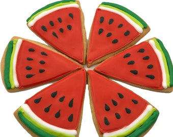 Watermelon Cookies- 6 Decorated Shortbread Cookies Individually Wrapped With Bow by BakersDozenToGo