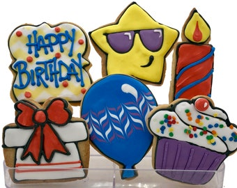 Birthday Assortment Cookies- 6 Decorated Shortbread Cookies Individually Wrapped With Bow by BakersDozenToGo