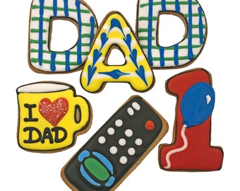 Fathers Day Cookies- 6 Decorated Shortbread Cookies Individually Wrapped With Bow by BakersDozenToGo