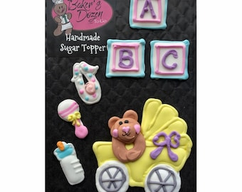 Baby Carriage Assortment- 7 pcs Baby Shower Gender Reveal Edible Icing Cake Topper Cupcake Food Decoration Handmade by BakersDozenToGo …