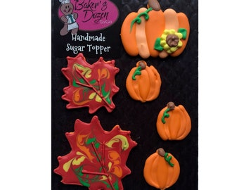 Pumpkins and Fall Leaves- 6 pcs Edible Icing Cake Topper Cupcake Decoration Handmade Gourmet by BakersDozenToGo