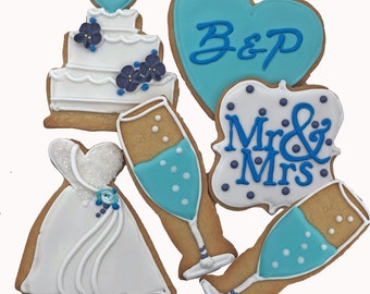 Mr & Mrs Wedding Cookies- 6 Decorated Shortbread Cookies Individually Wrapped With Bow by BakersDozenToGo