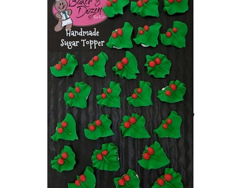 Christmas Holly- 24 pcs Edible Icing Cake Topper Cupcake Decoration Handmade Gourmet by BakersDozenToGo