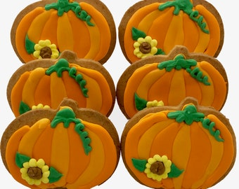 Pumpkin Cookies- 6 Decorated Shortbread Cookies Individually Wrapped With Bow by BakersDozenToGo