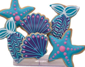 Mermaid Assortment Cookies- 6 Decorated Shortbread Cookies Individually Wrapped With Bow by BakersDozenToGo