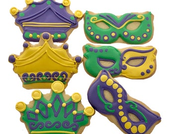 Mardi Gras Cookies- 6 Decorated Shortbread Cookies Individually Wrapped With Bow by BakersDozenToGo