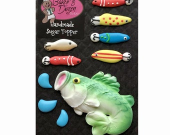 Large Mouth Bass- 10 pcs Fish and Fishing Lures Edible Royal Icing Cake Topper Cupcake Decoration Handmade by BakersDozenToGo