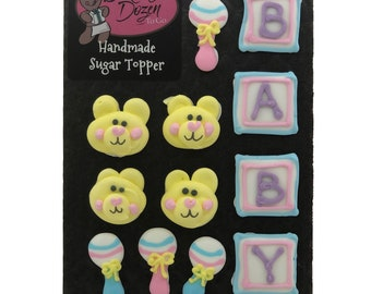 Baby Accessory Assortment- 12 pcs Baby Shower Gender Reveal Edible Royal Icing Cake Topper Cupcake Decoration Handmade by BakersDozenToGo