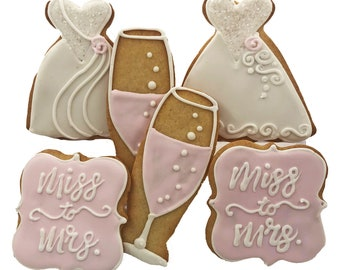 Miss to Mrs Wedding Cookies- 6 Decorated Shortbread Cookies Individually Wrapped With Bow by BakersDozenToGo
