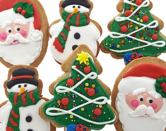 Christmas Cookie Assortment- 6 Decorated Shortbread Cookies Individually Wrapped With Bow by BakersDozenToGo