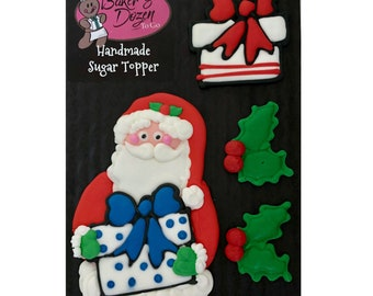 Santa Figure with Holly and Christmas Packages- 4 pcs Edible Icing Cake Topper Cupcake Decoration Handmade Gourmet by BakersDozenToGo