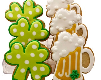 Shamrock and Beer Mug Cookies- 6 Decorated Shortbread Cookies Individually Wrapped With Bow by BakersDozenToGo