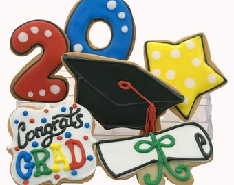 Graduation Assortment Cookies- 6 Decorated Shortbread Cookies Individually Wrapped With Bow by BakersDozenToGo