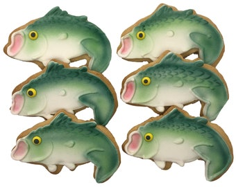 Bass Fishing Cookies- 6 Decorated Shortbread Cookies Individually Wrapped With Bow by BakersDozenToGo