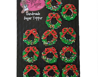 Christmas Wreaths- 12 pcs Edible Icing Cake Topper Cupcake Decoration Handmade Gourmet by BakersDozenToGo