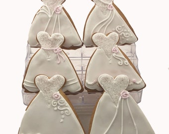 Wedding Gown Cookies- 6 Decorated Shortbread Cookies Individually Wrapped With Bow by BakersDozenToGo