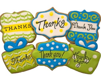 Thank You Assorted Cookies- 6 Decorated Shortbread Cookies Individually Wrapped With Bow by BakersDozenToGo