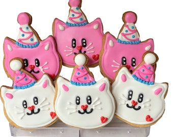 Birthday Cat Cookies Pink White- 6 Decorated Shortbread Cookies Individually Wrapped With Bow by BakersDozenToGo