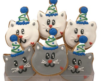 Birthday Cat Cookies Blue Grey Green- 6 Decorated Shortbread Cookies Individually Wrapped With Bow by BakersDozenToGo