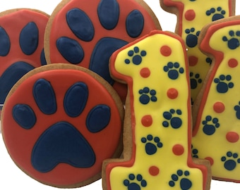 Paw Print Cookies- 6 Decorated Shortbread Cookies Individually Wrapped With Bow by BakersDozenToGo