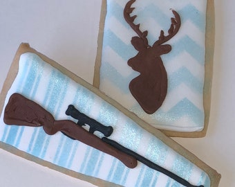 Deer Hunting Cookies- 6 Decorated Shortbread Cookies Individually Wrapped With Bow by BakersDozenToGo