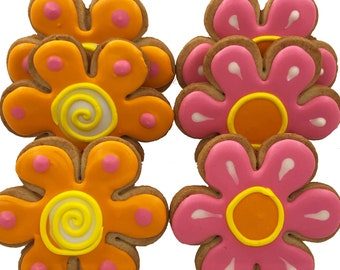 Crazy Daisy Cookies- 6 Decorated Shortbread Cookies Individually Wrapped With Bow by BakersDozenToGo