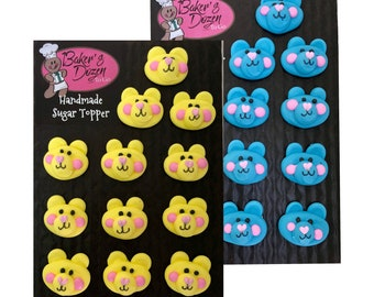 Teddy Bear Faces- 12 pcs Edible Icing Cake Topper Cupcake Decoration Handmade Gourmet by BakersDozenToGo